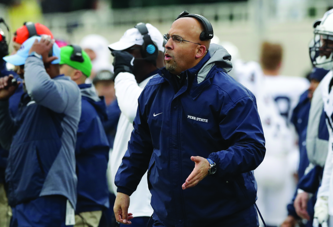 Penn State head coach James Franklin is seen on the sidelines during the first half of an NCAA college football game against Michigan State, Saturday, Nov. 4, 2017, in East Lansing, Mich. (AP Photo/Carlos Osorio)