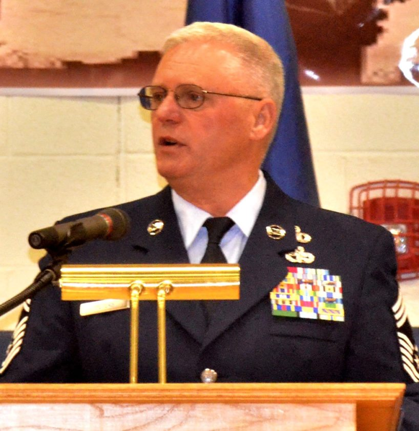 PHOTOS PROVIDED Chief Master Sgt. Robert J. Peters, Jr. of Port Matilda was the keynote speaker for the Veterans Day celebration at BEA.
