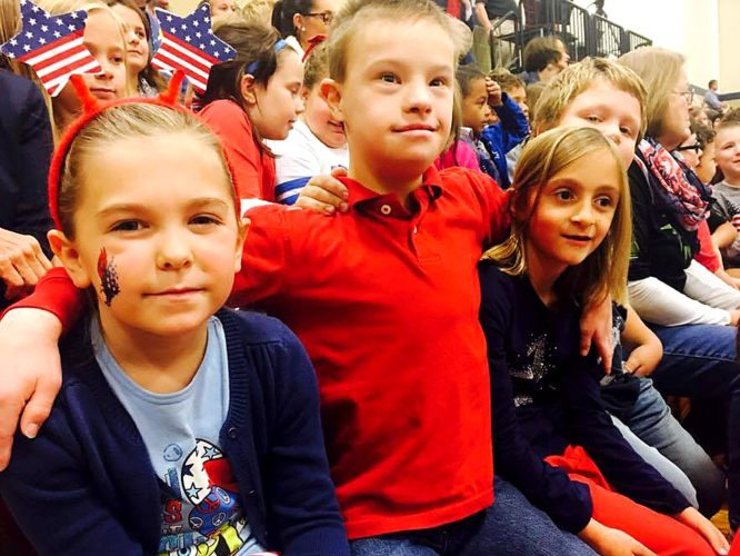 BEA elementary students dressed in red, white, and blue for the celebration.