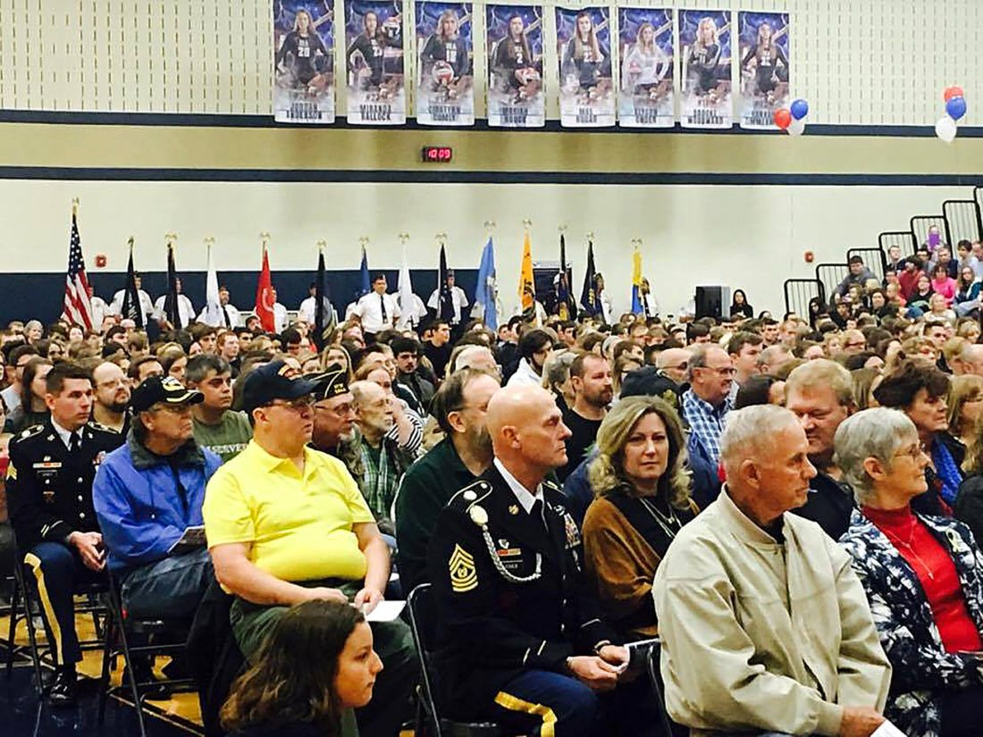 Area veterans wait for the Veterans Day Program to begin at the BEA gymnasium.