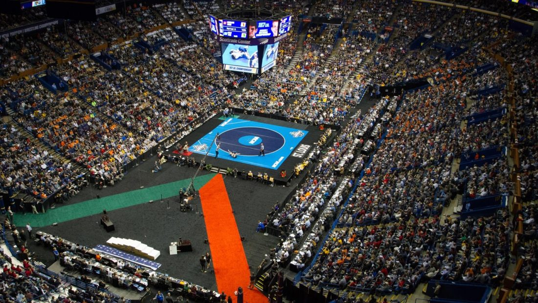 The 2017 NCAA College WrestlingChampionships took place in St. Lous, Missouri last year. (Photo courtesy of LHU Wrestling)
