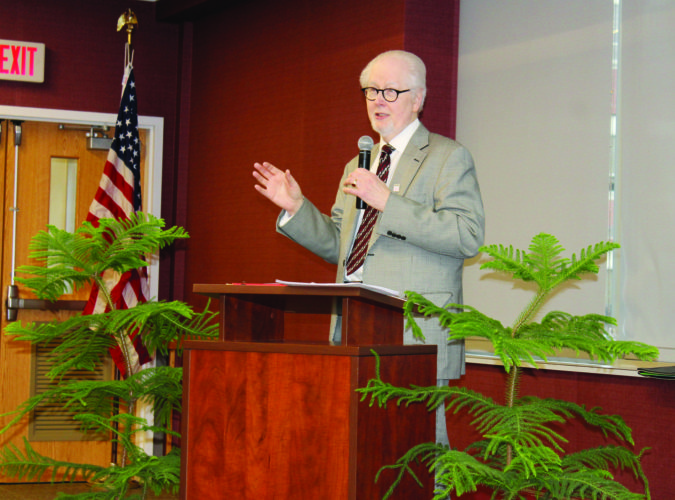 PHOTO PROVIDED  Stephen Poorman, principal of Poorman and Group, is shown during the inaugural Scholar-in-Residence Lecture recently held at Lock Haven University.