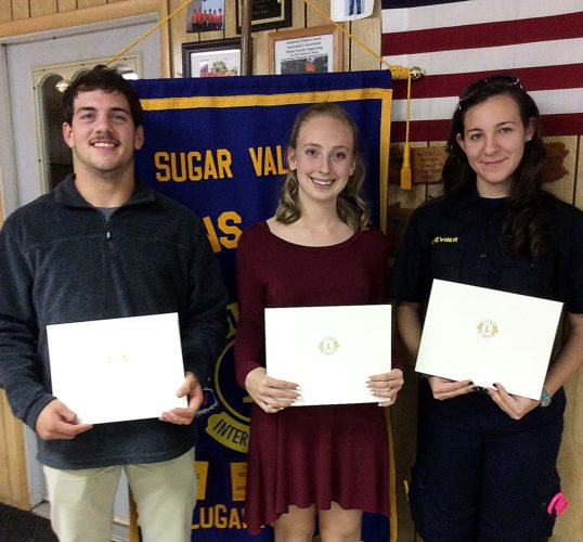 PHOTOS PROVIDED The Sugar Valley Lions Club recently recognized outstanding students Tanner Weaver from Central Mountain High School, Hanna Weaver, center, from Sugar Valley Rural Charter School, and Katie Hevner from CMHS.