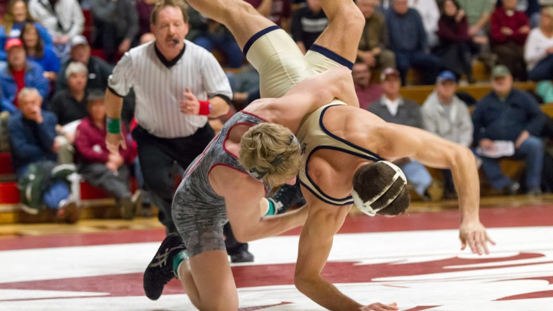 Jared Siegrist of Lock Haven University slams his opponent during the Mat-Town Open. (Photo courtesy of LHU Wrestling)