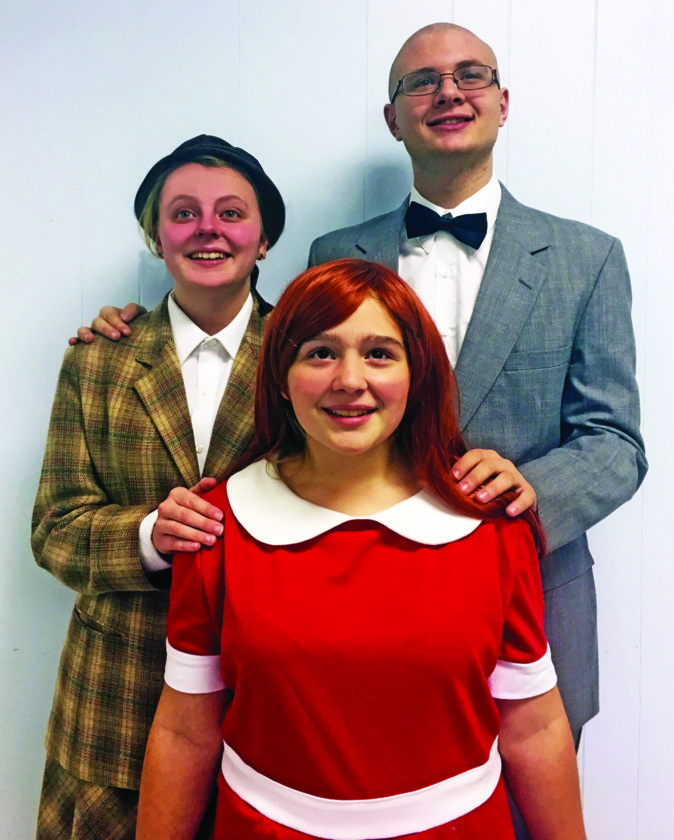 Abby Greevy plays Grace, Troy Prebble plays Daddy Warbucks, and Kendall Eichenlaub plays Annie.