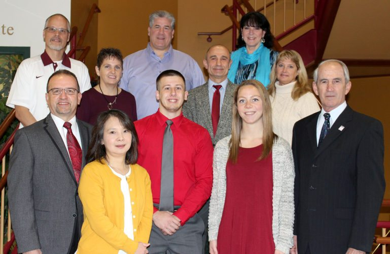 PHOTOS PROVIDED  Above, award recipients are shown with Lock Haven University health and physical education faculty and administration. Front row from left, are Dr. Paul Ballat, Dr. Kyoko Amano, Justin Rowand, Amanda Fuschetti, and Dr. Michael Fiorentino, Jr. Second row, from left, are Dr. Kim Everhart, Dr. Cengiz Yakut, and Michelle Eaton. Back row from left, are Dr. Brett Everhart, Dr. Tom Gioglio, and Dr. Cathy Traister.