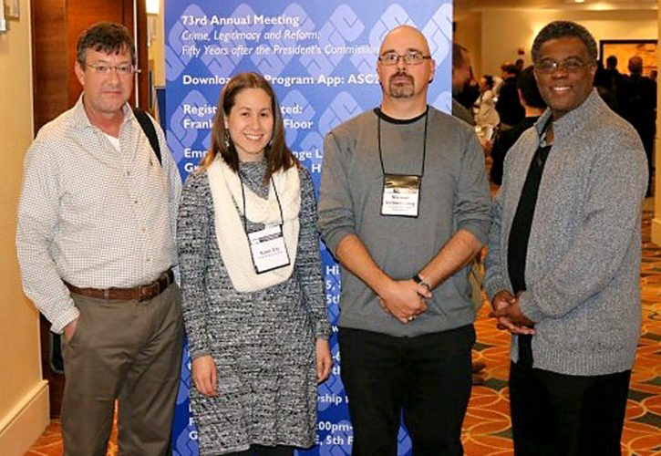 PHOTO PROVIDED From left are Drs. Ed Bowman, Katie Ely, Michael McSkimming and Dwayne Marshall, Lock Haven University criminal justice faculty members, at the American Society of Criminology conference held in Philadelphia, Nov. 15 to 18. Not pictured is Dr. Greg Koehle.