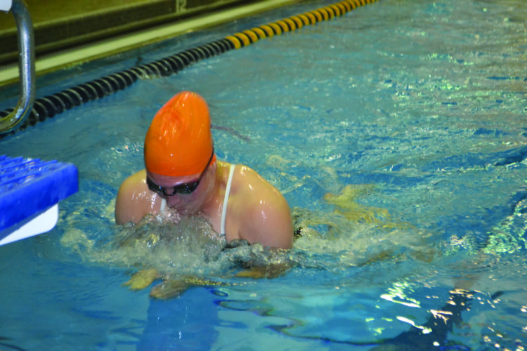 Jersey Shore High School's Arizona Schreck picking up points in the 100 yard breaststroke against Montoursville. (Photo Provided)