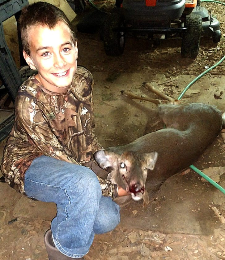 PHOTO PROVIDED Jonathan Houtz, 12, of Jersey Shore shot his first-ever deer in Porter Township. He has been hunting for the last six years as a mentored hunter but never had a chance for a deer. This was his first year as a junior hunter, and he was able to bring meat home to help feed his family.