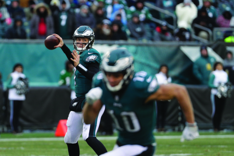 Philadelphia Eagles' Nate Sudfeld in action during the second half of an NFL football game against the Dallas Cowboys, Sunday, Dec. 31, 2017, in Philadelphia. (AP Photo/Chris Szagola)
