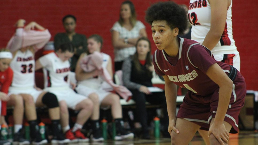 Freshman guard Bink Redman (1) of Lock Haven University waits for the next play in an NCAAwomen's college basketball game. LHU lost to Shippensburg, 81-59. (Photo courtesy of LHU Basketball)