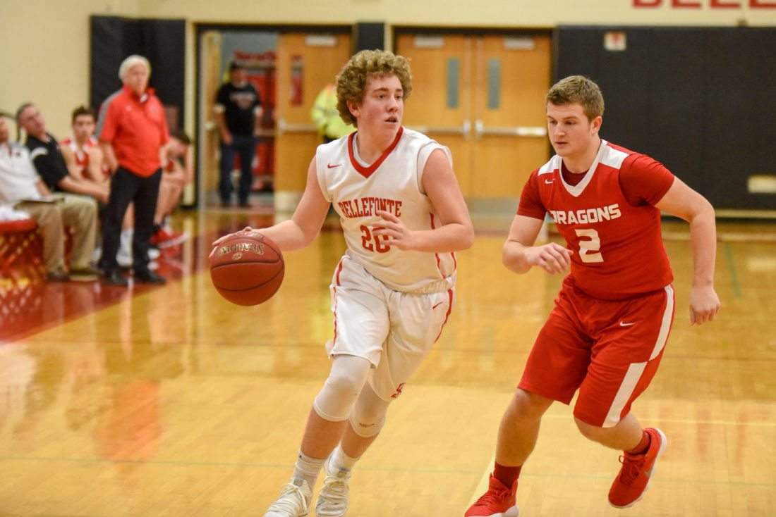 Bellefonte's Nick Fisher dribbles toward the basket in the Red Raiders' game against Central on Friday night. Bellefonte won, 61-47.
