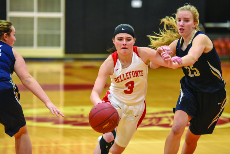 Senior guard Abbey Bruni (3) of Bellefonte High School drives into the lane against Bald Eagle Area High School in high School girls basketball action Wednesday, January 17, 2018 in Bellefonte. The Lady Red Raiders won 40-24. (The Express/Tim Weight)