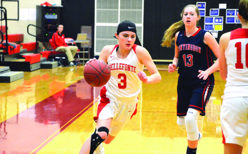 Abbey Bruni (3) of Bellefonte High School runs up the court against Huntingdon High School. Bellefonte lost 75-54. (The Express/Phil Mapstone)