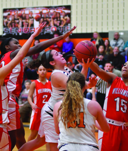 Jersey Shore High School's Hannah Kauffman (20) drives into the lane against Williamsport High School. (The Sun-Gazette/Mark Nance)