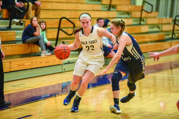 Mariah Veneziano (22) of Bald Eagle Area High School drives up the court against Penns Valley Area High School in high school girls basketball action on Friday, January 19, 2018, in Wingate. Bald Eagle Area lost, 59-19. (The Express/Tim Weight)