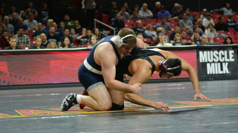 Penn State University dominated the University of Maryland on Saturday to grab a 47-3 victory during a college meet. (Photo courtesy of Penn State University Wrestling)