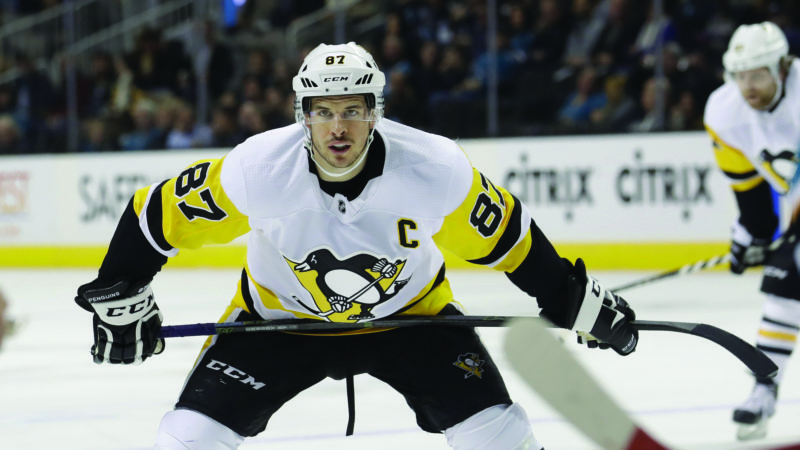 Pittsburgh Penguins center Sidney Crosby (87) against the San Jose Sharks during the first period of an NHL hockey game in San Jose, Calif., Saturday, Jan. 20, 2018. (AP Photo/Jeff Chiu)