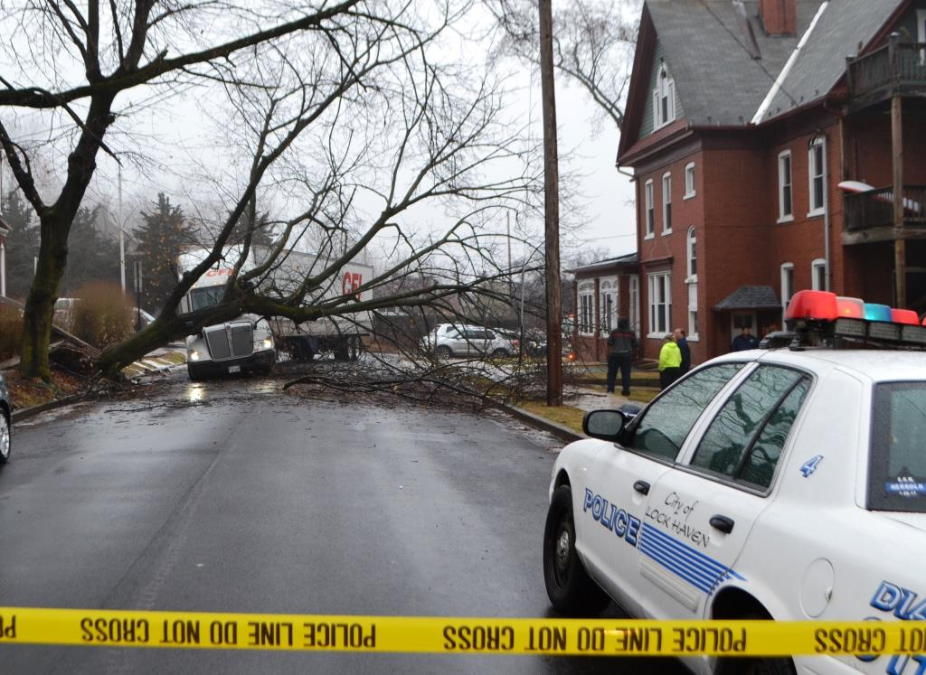 This truck apparently hit this tree directly or indirectly, causing large branches to come crashing down on the street and the truck. This photo was taken looking north on South Fairview Street toward Bellefonte Avenue.