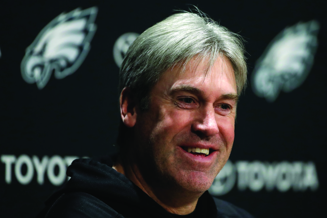 FILE - In this Jan. 25, 2018 file photo, Philadelphia Eagles head coach Doug Pederson speaks with members of the media during an NFL football news conference at the team's training facility in Philadelphia. Pederson is one win away from bringing Philadelphia the elusive Super Bowl title his mentor couldn't deliver. If the Eagles beat New England on Sunday, Feb. 4 Pederson will hoist the Vince Lombardi Trophy and Philadelphia would celebrate its first NFL title since beating Lombardi's Green Bay Packers in 1960.  (AP Photo/Matt Rourke, File)