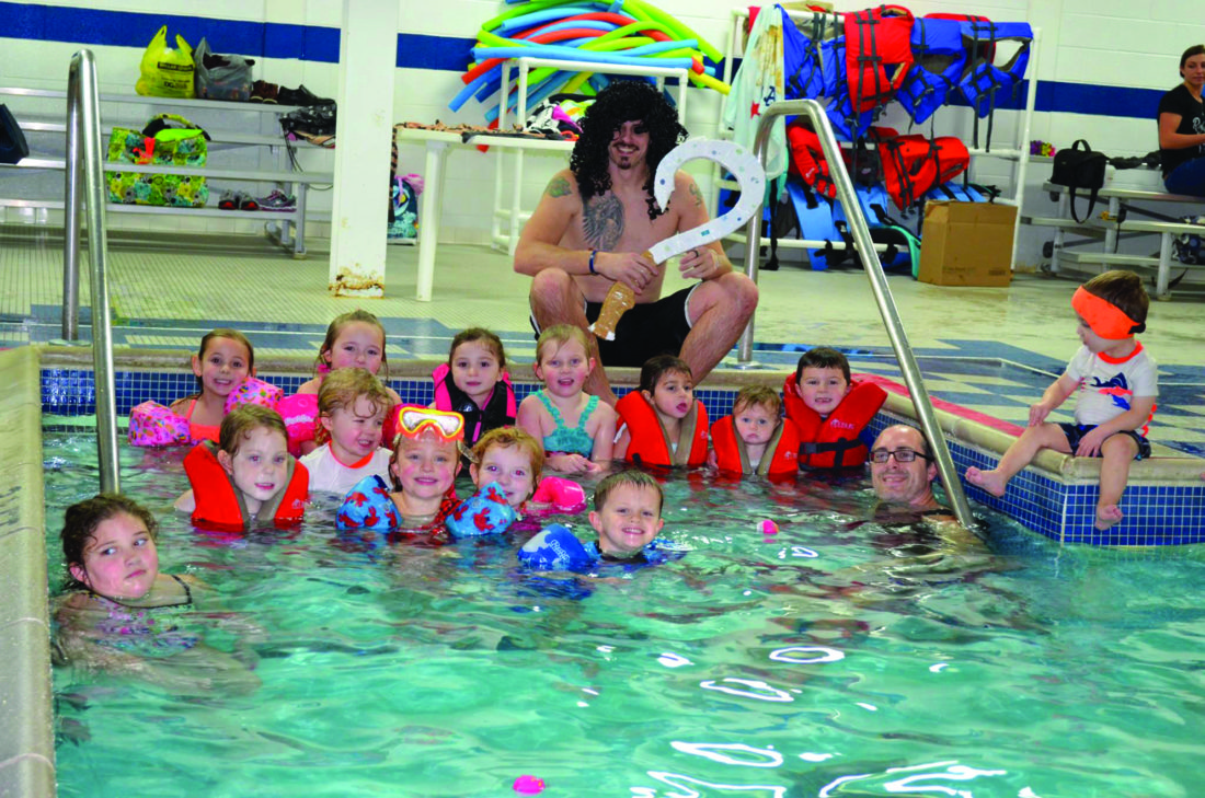 At top, Brooklyn and her birthday party guests enjoy a swim in the pool at the Lock Haven Area YMCA.