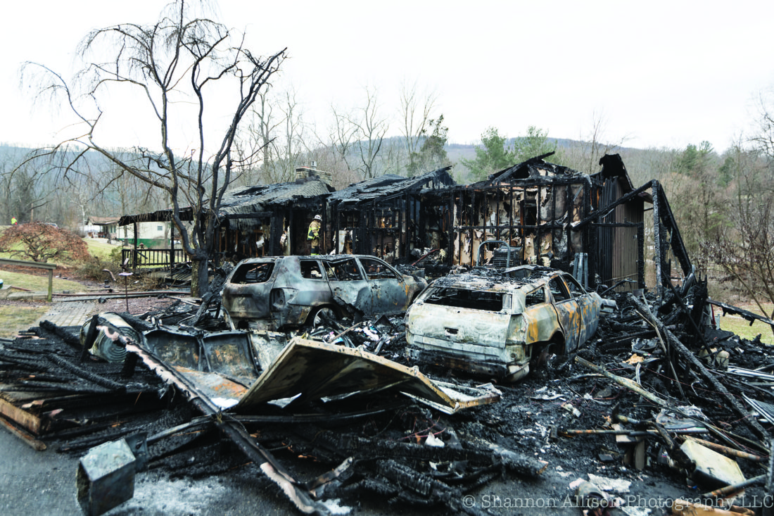 SHANNON ALLISON/FOR THE EXPRESS This home at 198 Park Road, Howard Township, was destroyed by fire Wednesday night.