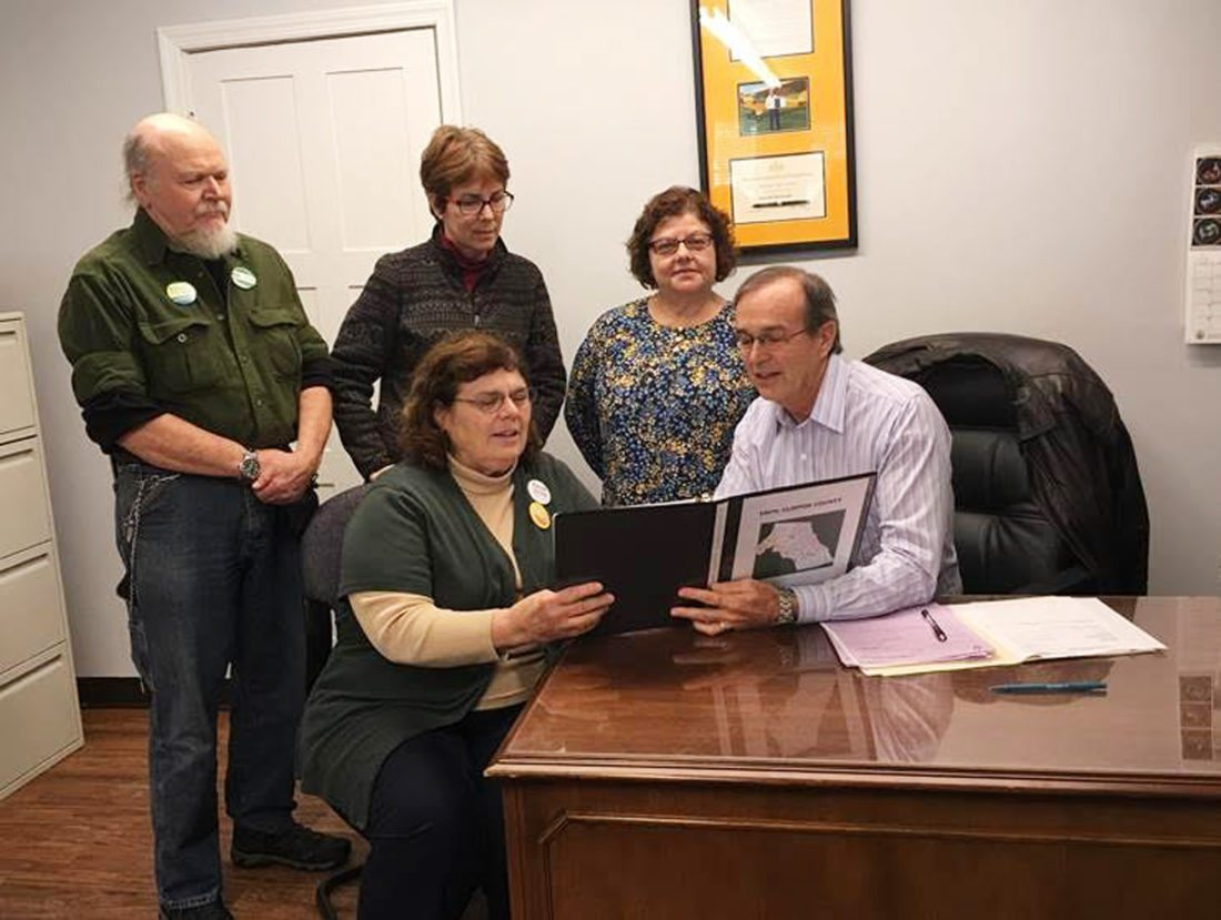 From left are, seated, Rose Reeder, Fair Districts Clinton County coordinator, and Hanna; and standing: Dan Reeder, Leigh-Anne Congdon and Lauri Schaitkin.