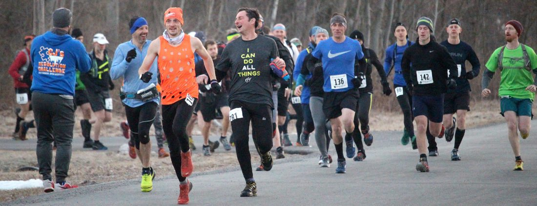 Matt Lipsey, front left, started at the front of the pack for Saturday's Frozen Snot trail challenge and stayed there, completing the 13.5 mile course in two hours, 42 minutes.