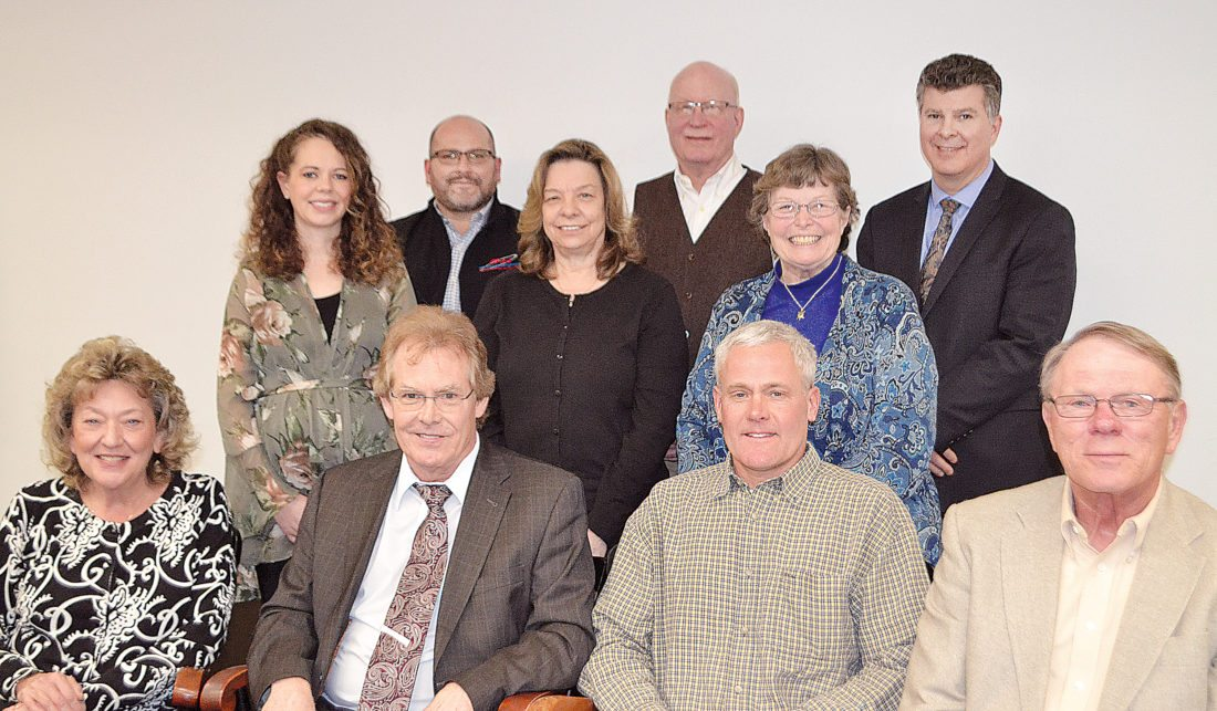 WENDY STIVER/THE EXPRESS Members of the Clinton County Community Foundation board are, from left, back, Douglas Miller, Mike Snow, Stuart Hall; middle, Elizabeth Arnold, Lana Muthler, Yvonne Weaver; front, Darlene Weaver, Dr. John Brandt, Allan Lugg Jr., Reed Morton. Absent from the photo was Rev. Don Grant.