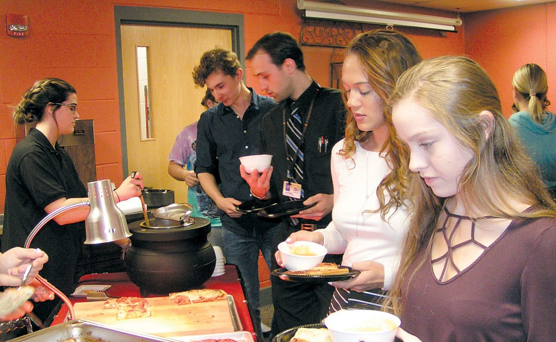 """PHOTOS PROVIDED Jersey Shore Area High School students nominated by their teachers as """"VIPs"""" for the second nine weeks of the academic year enjoy an awards lunch at the school Jan. 23."""