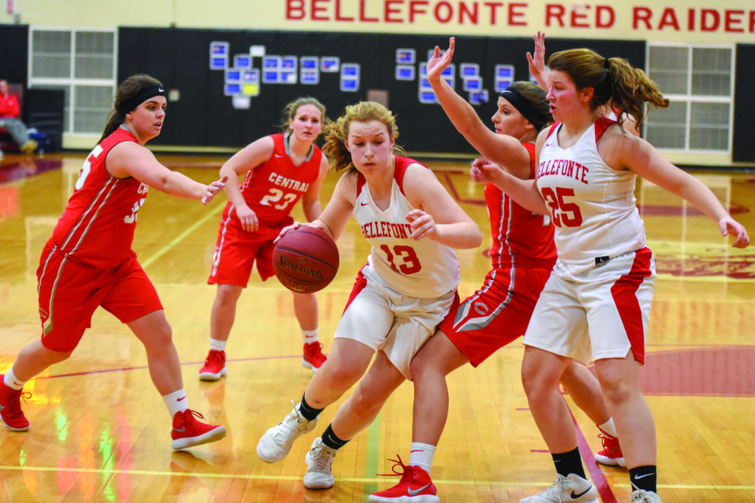 Freshman guard Maddie Tice (13) of Bellefonte High School drives into the lane against Central High School during high school girl's basketball action on Tuesday, February 6, 2018 in Bellefonte. The Lady Red Raiders lost, 32-26. (The Express/Tim Weight)