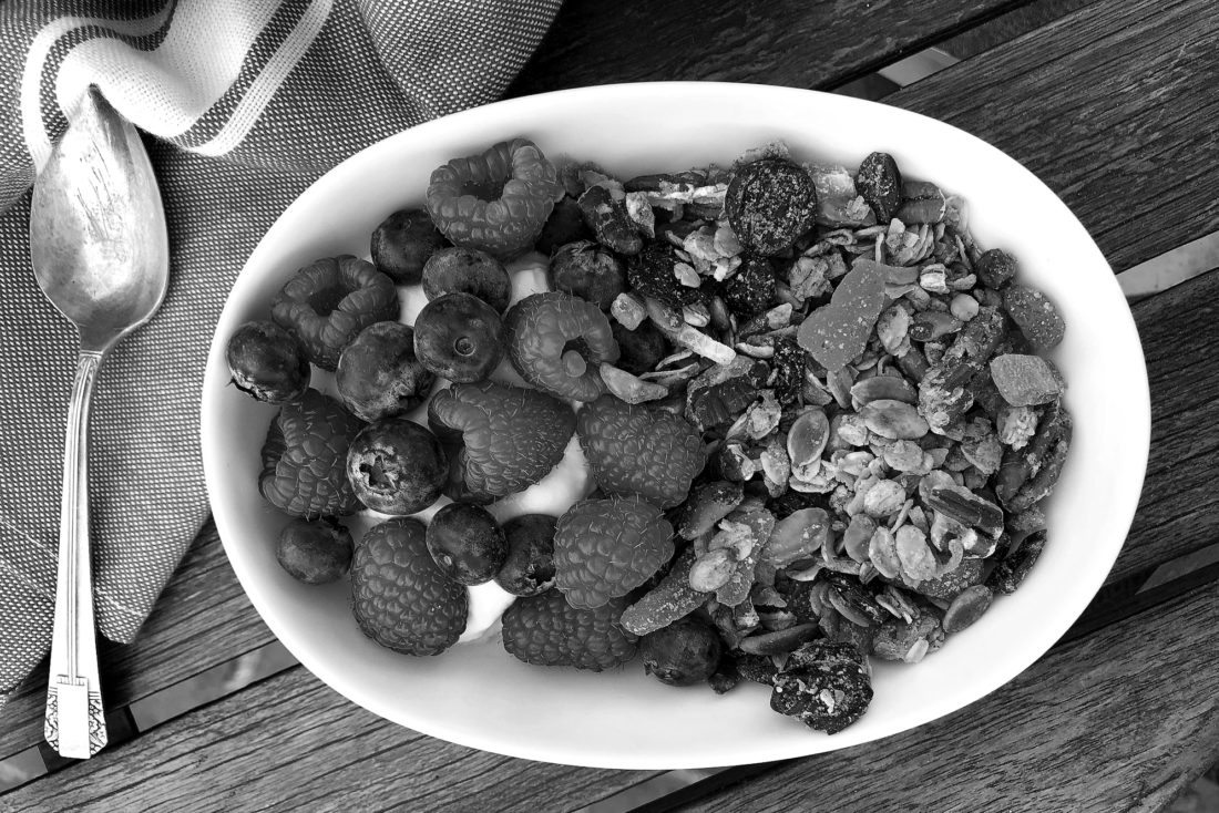 This undated photo provided by Elizabeth Karmel on Saturday Jan. 28, 2018 shows a dish made from her recipe for homemade Granola. The bottom line is that granola is all about what are your favorite flavors. If you like almonds and dried figs, hazelnuts, or even bits of dark chocolate, use them instead of, or alongside her mix-ins. (AP Photo/Elizabeth Karmel)