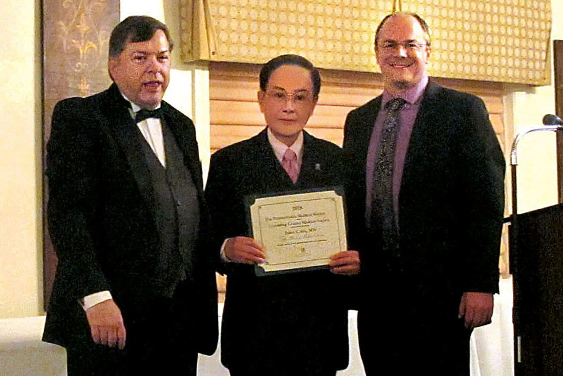 PHOTO BY PENNSYLVANIA MEDICAL SOCIETY Dr. Jason Shu, center, was honored recently by the Pennsylvania Medical Society and the Lycoming County Medical Society. With him are LCMS President Dr. Quinn Kirk, right, and former president Dr. Tim Heilmann, left.