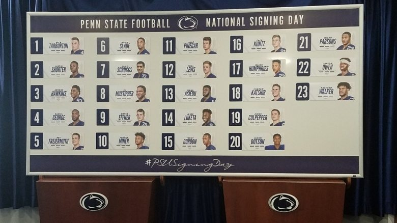 The 23 signees that made up the 2018 Penn State University football signing class. The Nittany Lions finished No. 4 in the 247 Sports rankings and finished No. 5 by ESPN as of Wednesday afternoon on February 8, 2018. (Photo courtesy of Penn State University Football)