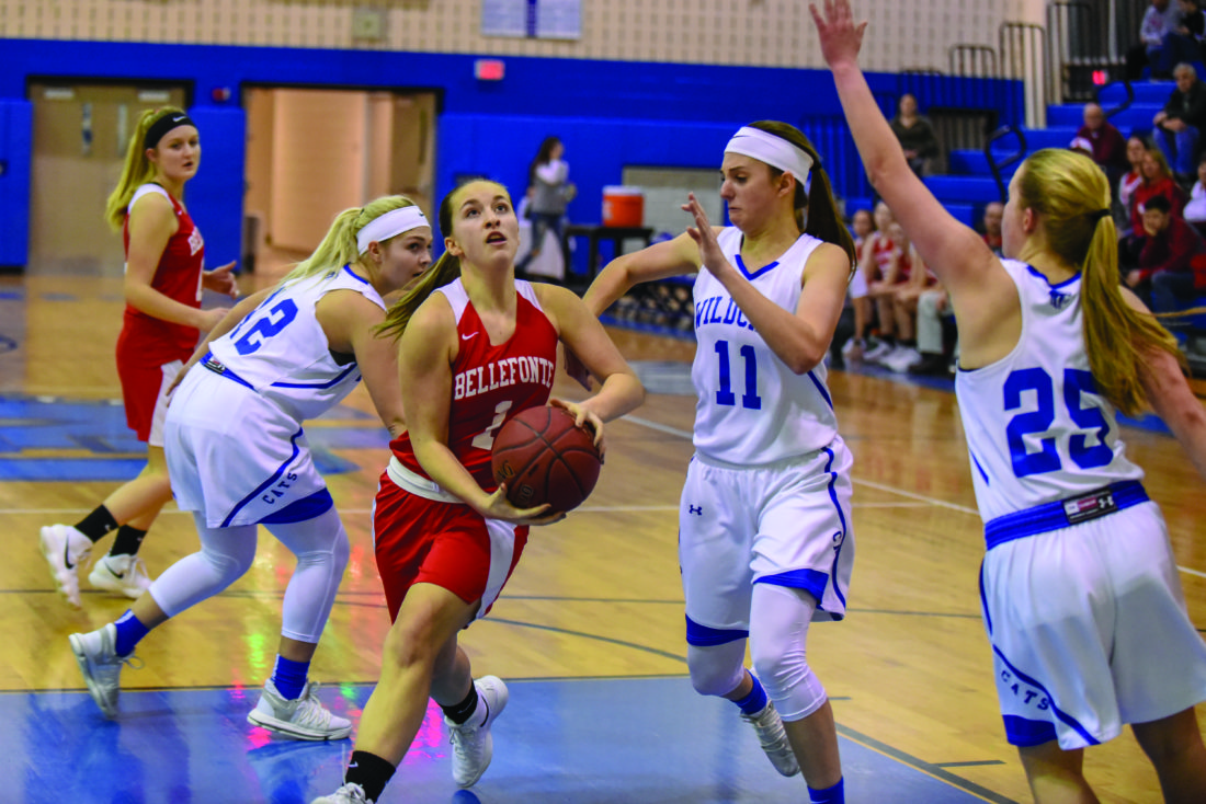 Bellefonte High School sophomore guard Maddie Steiner (1) runs through the Central Mountain High School defense  during a high school girl's basketball game on Monday, February 12, 2018 in Mill Hall. The Red Raiders won 55-23. (The Express/Tim Weight)