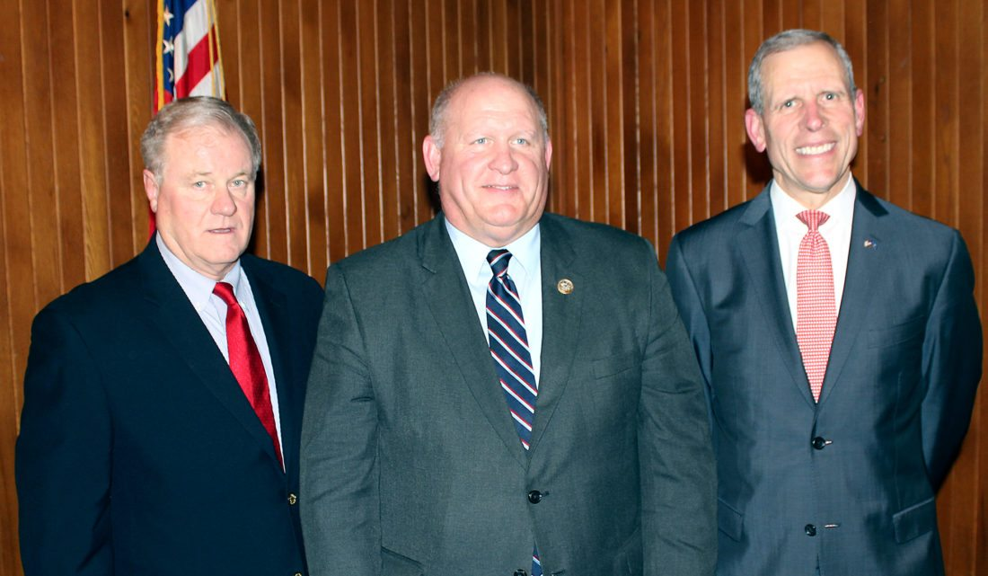 "SARAH SMELTZ/THE EXPRESS From left, candidate Scott Wagner, State Representative Glenn ""GT"" Thompson and candiate Paul Mango.  All three spoke at this year's Republician Dinner about their future plans and missions for the state of Pennsylvania and it's people."