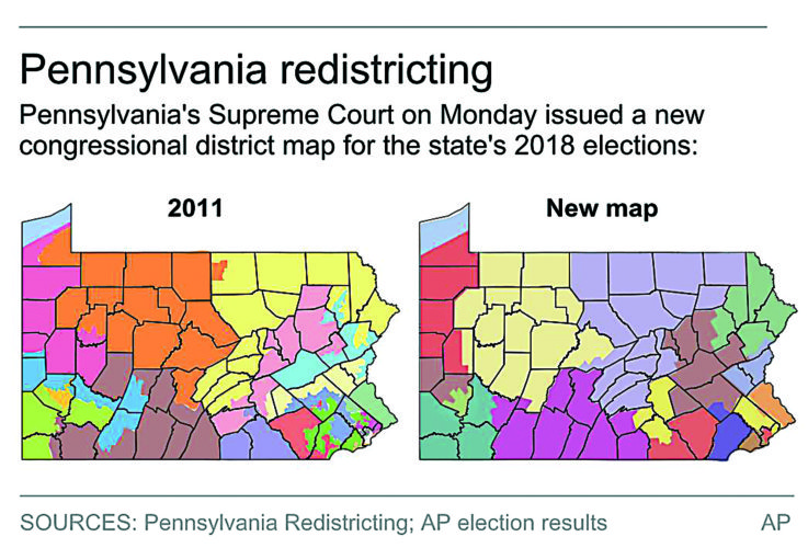 AP PHOTO On the left is the GOP-drawn 2011 Pennsylvania congressional map and on the right is the newly-drawn state Supreme Court congressional map, which puts Clinton County in the new 12th Congressional District.