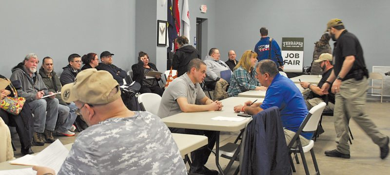 At least 100 people waited patiently inside the VFW building in Lock Haven to be interviewed during a job fair event Thursday afternoon for Terrapin Care Station, a grower-producer of cannabis medical products in South Avis. The company placed a focus on veterans who were applying for a job. Terrapin Care Station owner Chris Woods was in town and attended the first part of the job fair. Assisting with the event were Clinton County CareerLink and a security complement from Vet Force.