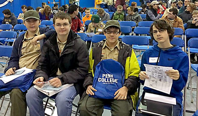 PHOTO PROVIDED Scouts from Woolrich Troop 66 attended the third Annual STEM Merit Badge College at Pennsylvania College of Technology. Pictured are Caleb Frazier, Jimmy Weller, Ashton Peters, and Drake Probst.