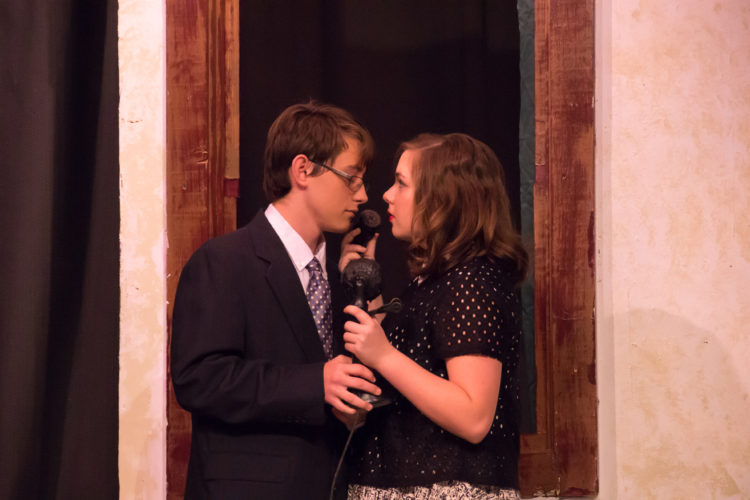 """Photo submitted by Sarah Goocey Alex Bauerbach, as George Bailey, and Madi Moore, as Mary Hatch, perform a scene from the MOVP Youth Theater production of """"It's a Wonderful Life,"""" opening Friday."""