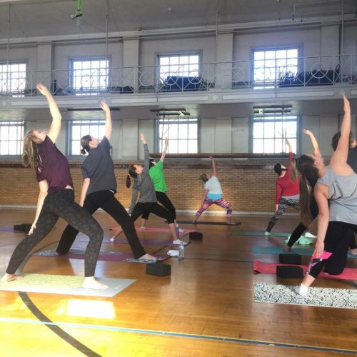 PEYTON NEELY The Marietta Times Yoga class going on inside of the gym at the Betsey Mills Club one rainy afternoon.
