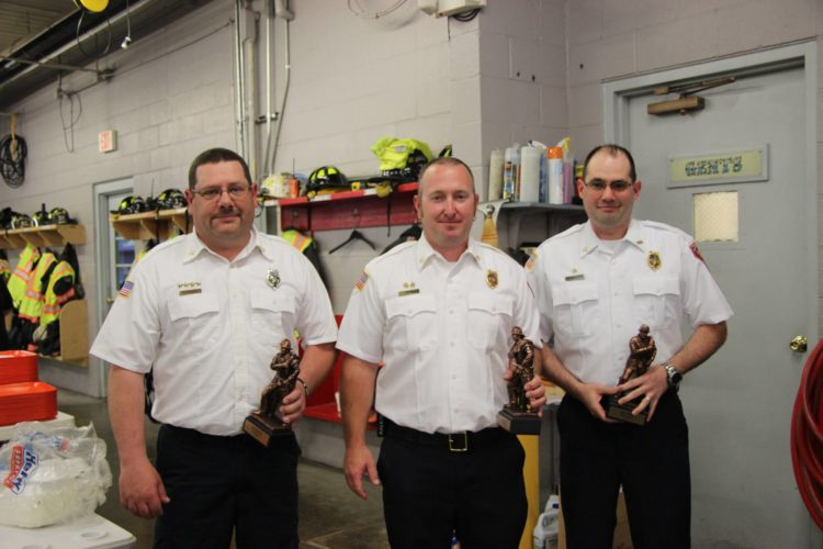 From right: Capt. Nathan Russell, Capt. Andy Prim and Capt. Matt Miller. They were given a very special Lifesaver Award. We responded to a house trailer fire on the night of Jan. 6, 2017. The efforts of these three members along with Firefighters Krieg Worstell — L/A VFD and Ryan Moore — Fearing VFD working together, saved the lives of the homeowner and her pet dog, who were trapped inside the burning structure.