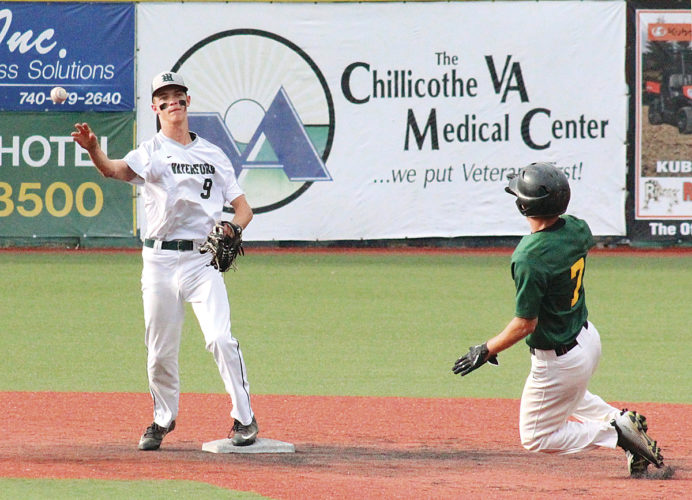 Waterford's Noah Huffman (9) returns the ball as Eastern's Nate Durst (7) approaches second base during a game-winning double play Wednesday. Waterford won, 9-3. Photo courtesy of Alex Hawley.