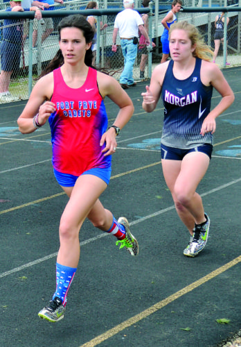 RON JOHNSTON The Marietta Times Regional track qualifiers Mary Kate McElroy, left, of Fort Frye, and Jordan Penrod, of Morgan, compete during a distance event at the Warren Warriors Invitational earlier this season in Vincent.
