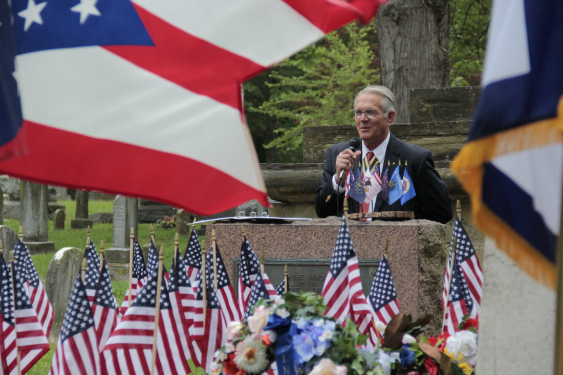 JANELLE PATTERSON   The Marietta Times Jean Yost, member of the Marietta chapter of the Sons of the American Revolution, gives the keynote address at the Memorial Service for the Revolutionary War Patriots of the Northwest Territory Thursday in Mound Cemetery.