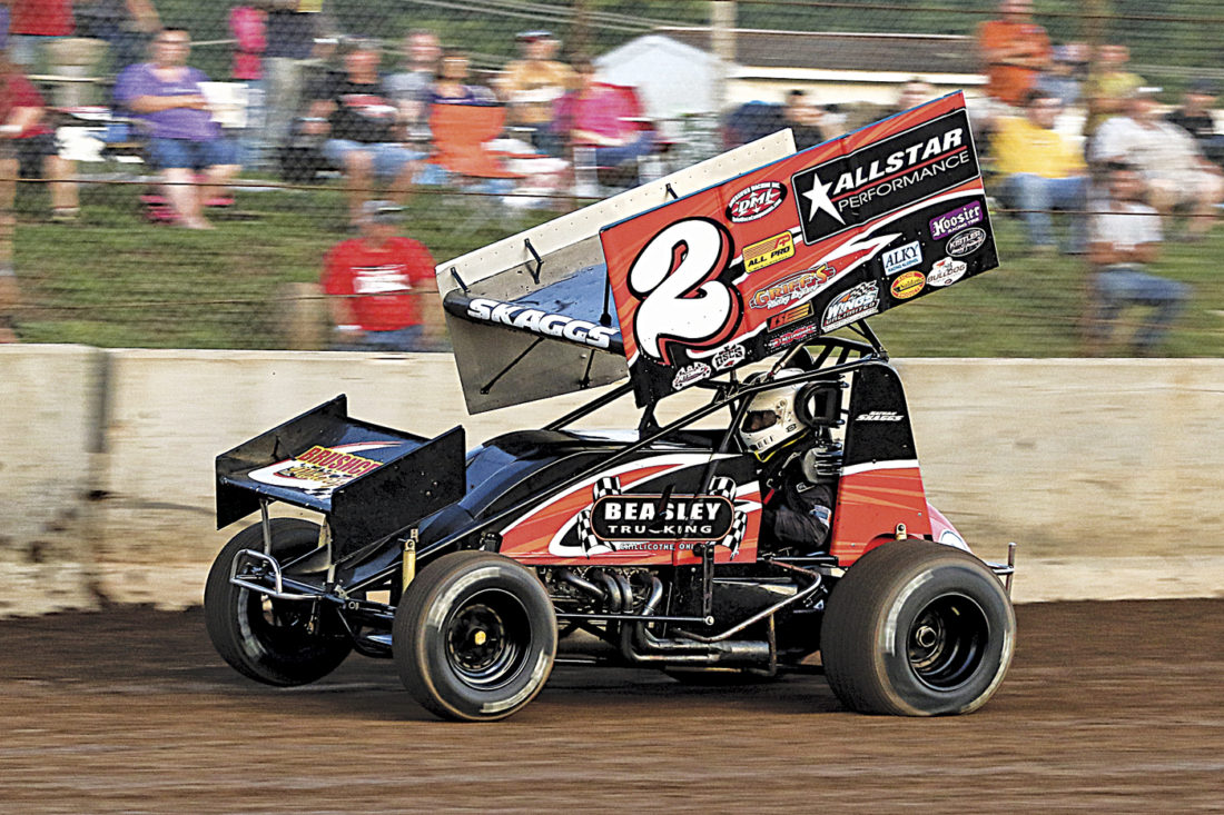 Ohio Valley Sprint Car Association driver Nathan Skaggs captured his second consecutive victory at the Legendary Hilltop Speedway Friday night and his third win in as many attempts on the quarter mile dirt track this spring. Photo courtesy of Zach Yost.