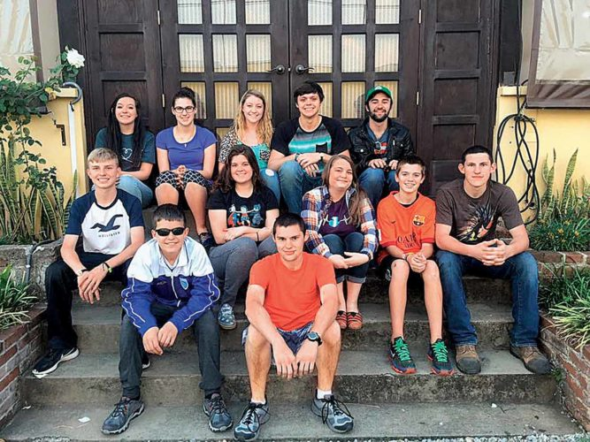 Some of those making the trip to Guatemala were: front row, from left: Lucas Fullerton, Duncan Watson. Middle row, from left, Eli Fullerton, Courtney Feight, Peyton Smith, Evan Wells, Connor Watson. Back row, from left: Mikayla Roberts, Sarah Watson, Alexis Groves, Seth Feight, Tom Middleton.