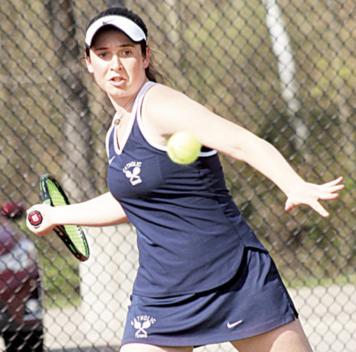 Local Marie Discini returns a shot during a Parkersburg Catholic regular season tennis match earlier this year. Discini qualified for the Midwest Closed event this past week in Columbus, Ohio.