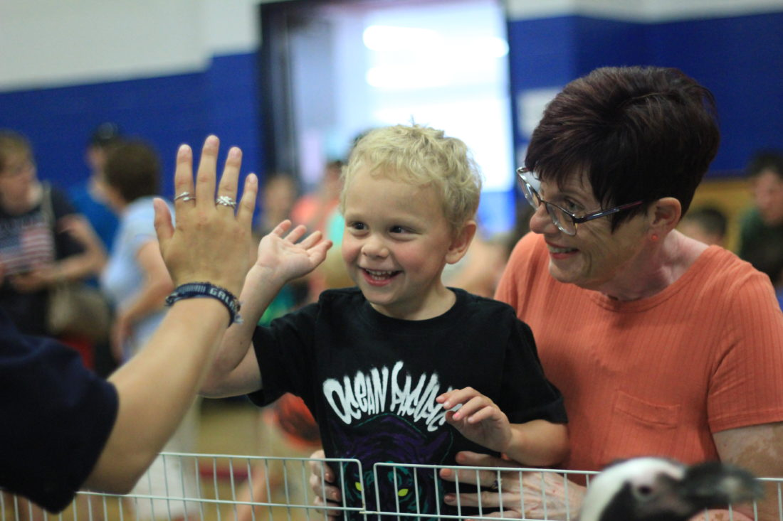 JANELLE PATTERSON   The Marietta Times Axyl Schramm, 4, of Marietta, and his grandmother Theresa Schramm, of Beverly meet a penguin during a program put on by the Washington County Public Library Wednesday in Beverly.