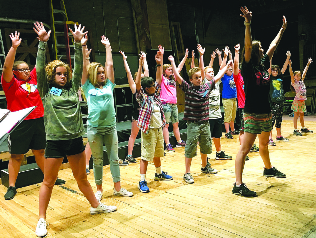 MICHAEL ERB  Special to the Times Instructor Alison Cressey, right, leads a group of students in a song and dance routine Friday at the Smoot Theatre's annual Camp Vaudeville. The students will perform an original musical at 7 p.m. Tuesday at the Smoot.